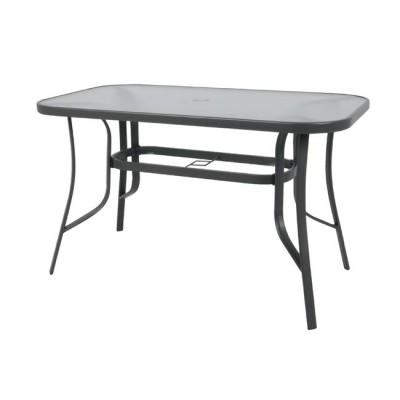 RIO Τραπέζι 150x90cm Μεταλλικό Ανθρακί/Γυαλί Pear Clear