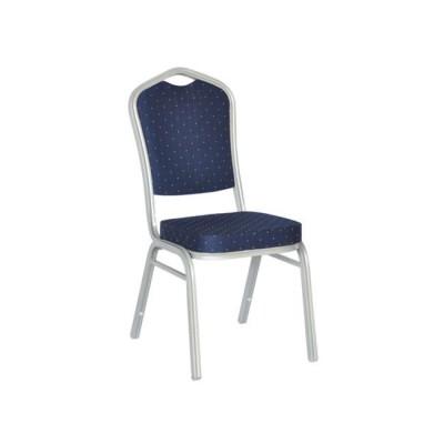 HILTON Καρέκλα Μεταλλική Silver Ύφασμα Μπλε