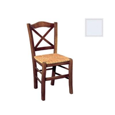 METRO Καρέκλα Ψάθα Εμποτ.Λάκα Λευκή