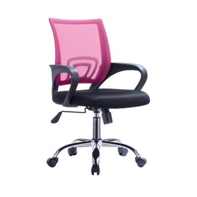 BF2101-F Χρώμιο Πολυθρόνα Ροζ/Μαύρο Mesh (Συσκ.1)