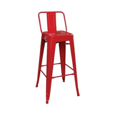 RELIX Σκαμπό BAR με Πλάτη, Μέταλλο Βαφή Κόκκινο