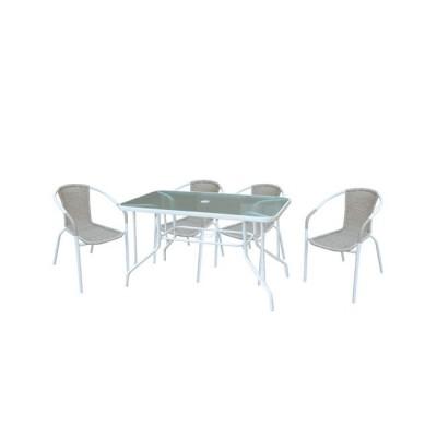 BALENO Set (Τραπ.110x60cm+4 Πολ) Μεταλ.Άσπρο/Beige Wicker