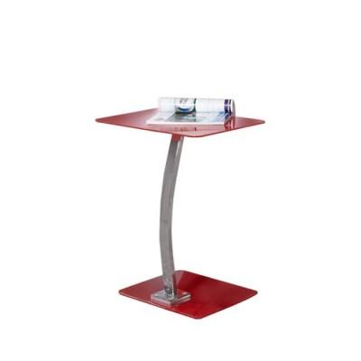 SOLID Τραπ.LapTop 48x32x58cm Γυαλί Κόκκινο/Χρώμιο