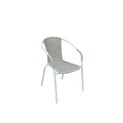 BALENO Πολυθρόνα Μεταλ.Άσπρο/Beige Wicker