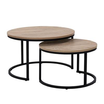 MINO COFFEE TABLE SET 2ΤΕΜ SONOMA DECAPE ΜΑΥΡΟ D74-59xΗ47-38,5cm