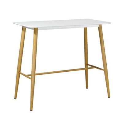 LAVIDA Τραπέζι BAR 120x60 Λευκό, Μεταλ.Φυσικό