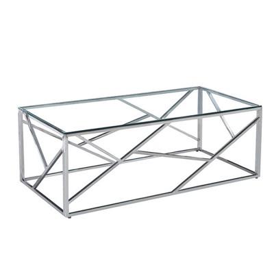 BONSAI COFFEE TABLE ΑΣΗΜΙ ΔΙΑΦΑΝΟ 120x60xH40cm