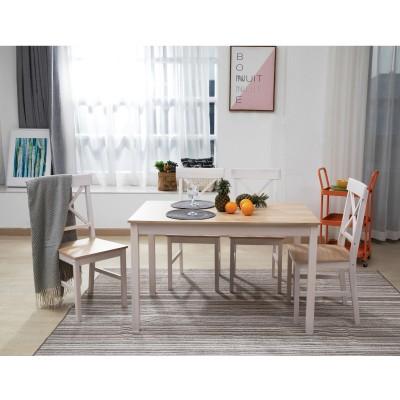 DAILY Set Τραπεζαρία Ξύλινη Σαλονιού - Κουζίνας: Τραπέζι + 4 Καρέκλες / Άσπρο - Φυσικό