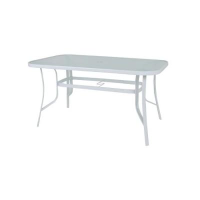RIO Τραπέζι 140x80cm Μεταλλικό Λευκό/Γυαλί Pear Clear