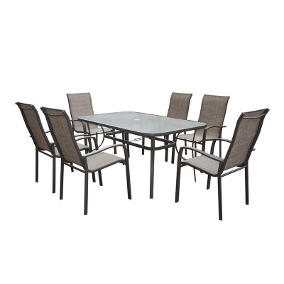 VERONA Set Τραπεζαρία Κήπου : Μέταλλο-Textilene Καφέ / Γυαλί :Τραπέζι 160x96 + 6 Πολυθρόνες
