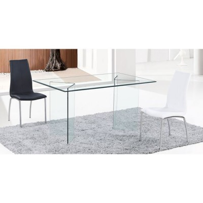 GLASSER Clear Τραπέζι γυαλί 12mm 150x90x75cm