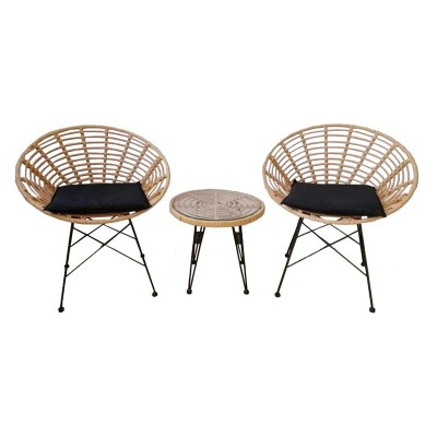 SALSA Coral Coffee Set Κήπου Μέταλλο Μαύρο - Γυαλί - Wicker Φυσικό: Τραπεζάκι+2 Πολυθρόνες