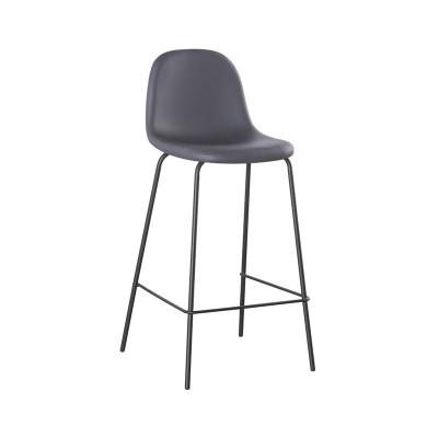 CELINA Σκαμπό BAR με Πλάτη, Κάθισμα H.67cm, Μέταλλο Βαφή Μαύρο, Pvc Γκρι