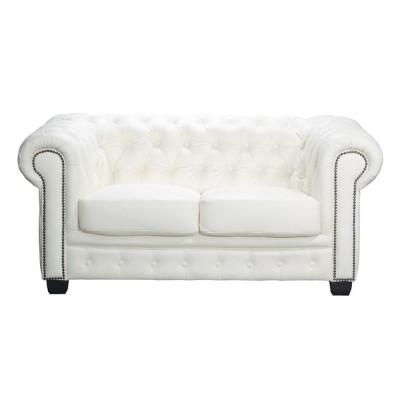 CHESTERFIELD 689 Καναπές 2Θέσιος Σαλονιού - Καθιστικού, Δέρμα, Απόχρωση Άσπρο