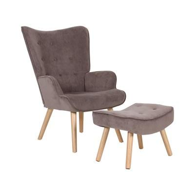 ALMA Set Πολυθρόνα & Σκαμπώ, Ύφ.Καφέ Velure (K/D)