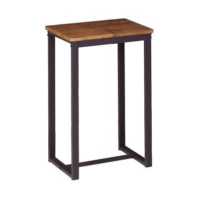 HENRY Σκαμπό BAR, Μέταλλο Βαφή Σκούρο Καφέ, Κάθισμα Απόχρωση Καρυδί