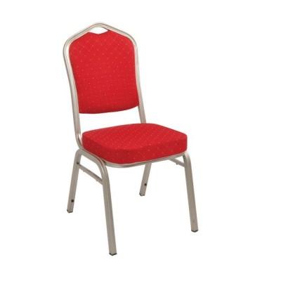 HILTON Καρέκλα Μεταλλική Light Gold/Ύφασμα Κόκκινο