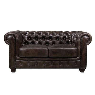 CHESTERFIELD 689 Καναπές 2Θέσιος Σαλονιού - Καθιστικού, Δέρμα Απόχρωση Καφέ