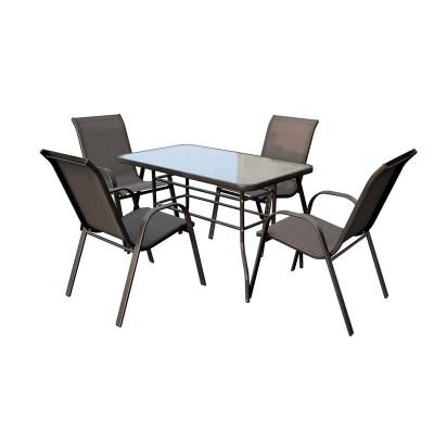 RIO Set Τραπεζαρία Βεράντας - Κήπου : Τραπέζι + 4 Πολυθρόνες Μέταλλο Καφέ - Textilene Καφέ