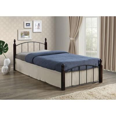 ARAGON Κρεβάτι (για στρώμα 120x200cm) Μεταλ.Μαύρο/Ξύλο Καρυδί