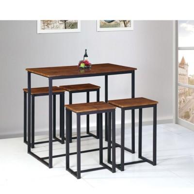 HENRY Set Bar (Τραπ.100x60cm+4 Σκαμπώ) Μεταλ.Σκ.Καφέ/Καρυδί