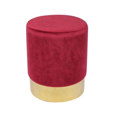 SOL Σκαμπό  Βοηθητικό, Χρώμιο Χρυσό, Ύφασμα Velure Απόχρωση Κόκκινο