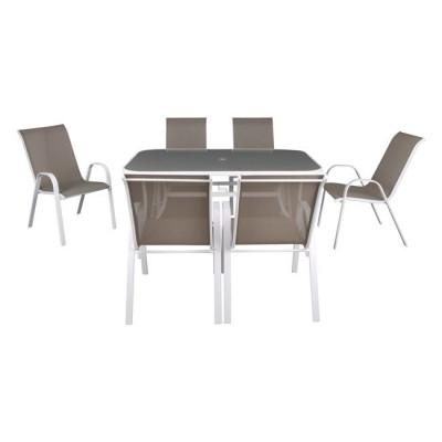 RIO Set Τραπεζαρία Κήπου Steel Άσπρο-Γυαλί-Textilene Cappucci no: Τραπέζι +6 Πολυθρόνες