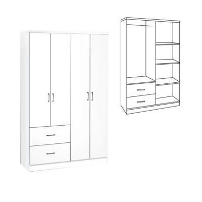 LIFE Ντουλάπα 4-πόρτες 119x42x180 Λευκό
