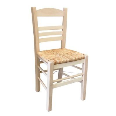 ΣΙΦΝΟΣ Καρέκλα Άβαφη με Ψάθα Αβίδωτη