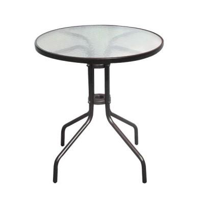 BALENO Τραπέζι Κήπου - Βεράντας, Μέταλλο Βαφή Καφέ, Γυαλί Tempered