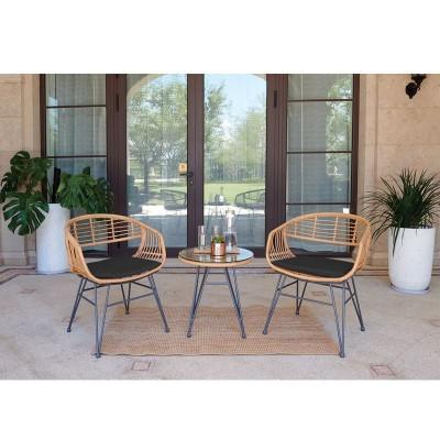 SALSA Lounge Set Καθιστικό Μέταλλο Μαύρο - Γυαλί - Wicker Φυσικό: Τραπεζάκι+2 Πολυθρόνες