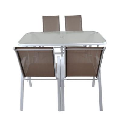 RIO Set Τραπεζαρία Κήπου Steel Άσπρο-Γυαλί-Textilene Cappucci no : Τραπέζι + 4 Πολυθρόνες