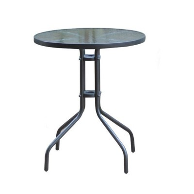 BALENO Τραπέζι Κήπου - Βεράντας, Μέταλλο Βαφή Ανθρακί, Γυαλί Tempered