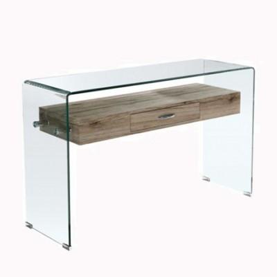 GLASSER Wood Κονσόλα με ράφι Clear γυαλί 12mm 120x40x75cm